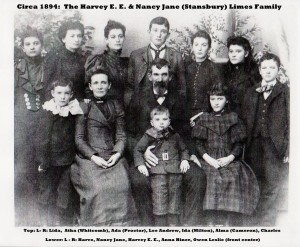 Circa 1894 family photograph of the Harvey E. E. and Nancy Jane Stansbury Limes photograph