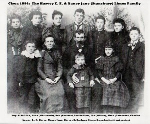 Harvey and Nancy Limes Family group photograph with names