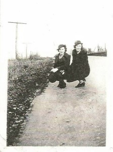 Irene and Virginia Zagorsky hitch hiking