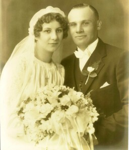 Wedding of Mary Zagorsky to John Stitak, June 30, 1936 in Lorain, Ohio.