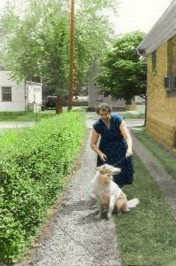 Virginia and Teddy colorized version in driveway - 4-20-2015