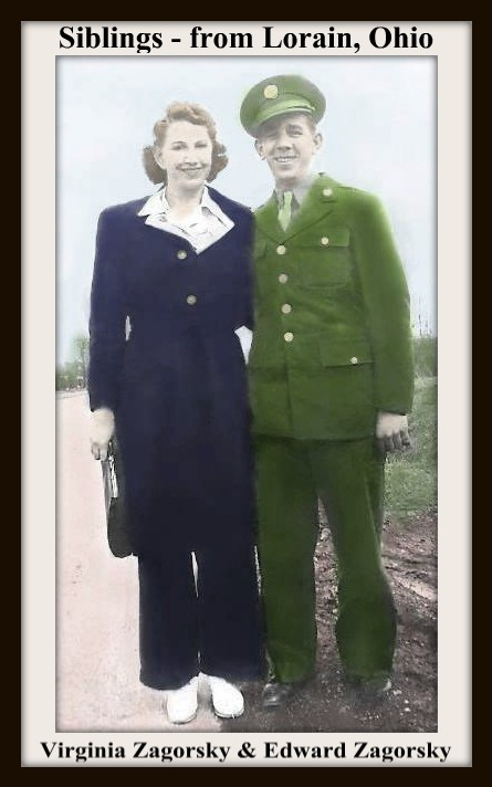 VIRGINIA ZAGORSKY AND HER BROTHER EDWARD ZAGORSKY - COLORIZED MAY 17 2017 - WITH FRAME & TEXT