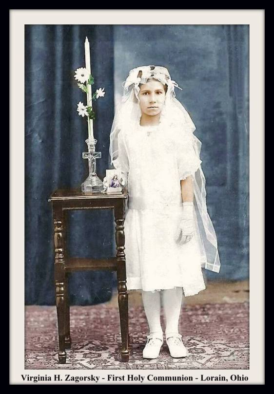 VIRGINIA ZAGORSKY FIRST COMMUNION COLOR WITH FRAME & TEXT