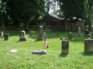 8-9-2014 - Walnut Creek Cemetery - longer show view of Wm & Athaliah Limes gravestones