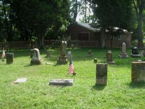 8-9-2014 - Walnut Creek Cemetery - longer show view of Wm & Athaliah Limes gravestones