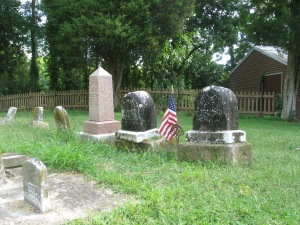8-9-2014 - Walnut Creek Cemetery - Mariah Doster Ellis & Levi Ellis stones after cleaning - 2