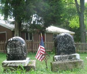 8-9-2014 - Walnut Creek Cemetery - Mariah Doster Ellis & Levi Ellis stones after cleaning - 3 close up