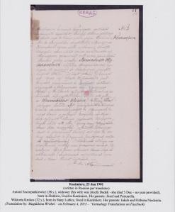Antoni Szczepankiewicz marriage record 1901 Poland