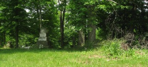 June 5 2015 - Butcher Cemetery long shot broken monument on ground