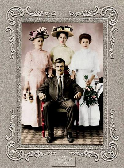 Louis & Barbara Preger colorized wedding photograph whiter dress