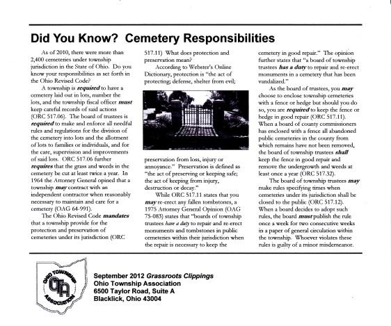 OTA - SEPT 2012 - CEMETERY RESPONSIBILITIES