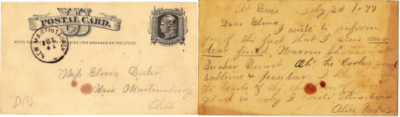 ELMA DOSTER SIDE BY SIDE POST CARD - 1877