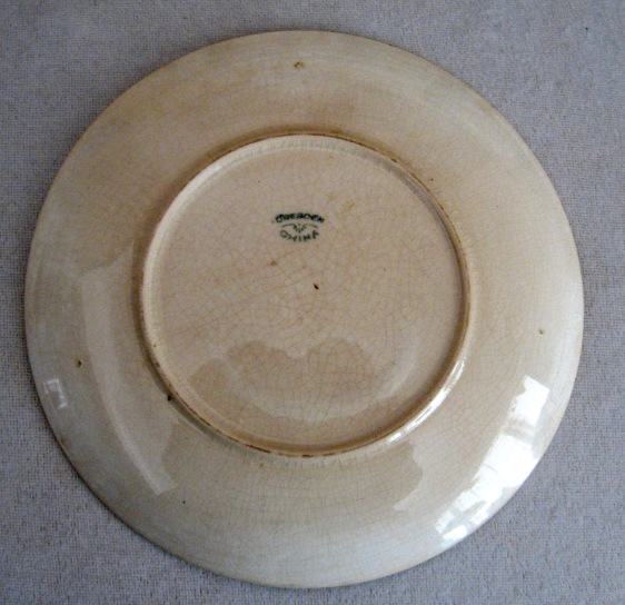 CHRISTY PLATE - DRESDEN CHINA - REVERSE
