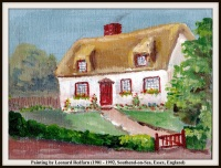 LEONARD REDFARN THATCHED ROOF HOUSE WITH TEXT