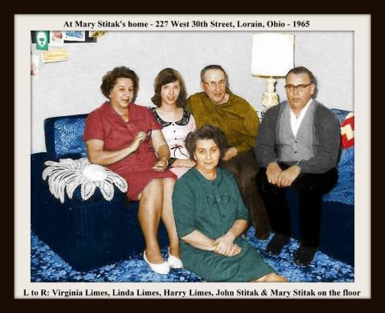 AUNT MARY VIRGINIA HARRY & JOHNNY & LINDA COLORIZED WITH FRAME & TEXT