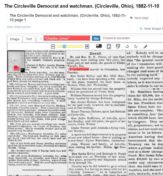 CHARLES H LIMES - NOV 10 1882 - CIRCLEVILLE DEMOCAT & WATCHMAN MOVED TO COLUMBUS