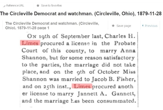 CHARLES H LIMES - NOV 28 1879 - MARRIAGE NOTICE CIRCLEVILLE DEMOCRAT & WATCHMAN FINAL COPY