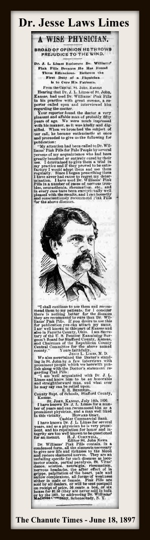 THE CHANUTE TIMES - JUNE 18 1897 - JESSE LIMES WITH FRAME & TEXT