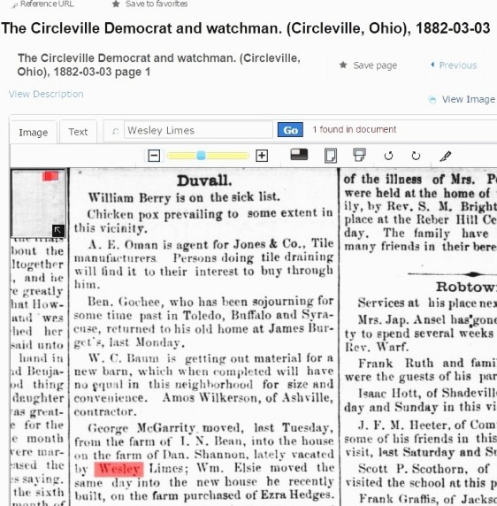 WESLEY LIMES - CIRCLEVILLE DEMOCRAT & WATCHMAN - MARCH 3 1882