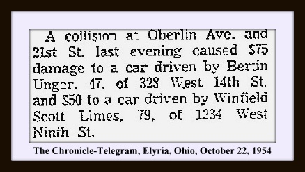 WINFIELD SCOTT LIMES - ELYRIA CHRONICLE TELEGRAM - OCT 22 1954 PG 6 ACCIDENT WITH FRAME & TEXT