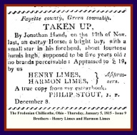 HARMON LIMES & HENRY LIMES - JAN 5 1815 ISSUE 9 PG 4 - THE FREDONIAN CHILLICOTHE OH WITH BLUE & RED BORDER