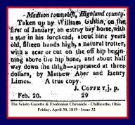 HENRY LIMES - FRI APRIL 30 1819 ISSUE 32 PG 4 - MADISON TWP WITH RED & BLUE FRAME
