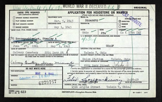 Stanley Szczepankiewicz - Toledo - Headstone application - 2-28-1949