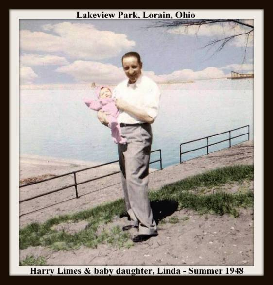 HARRY AND LINDA LIMES - COLORIZED - SUMMER OF 1948 AT LAKEVIEW PARK NEAR BEACH WITH FRAME & TEXT