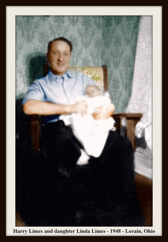 HARRY LIMES & BABY LINDA IN ROCKER COLORIZED WITH FRAME & TEXT