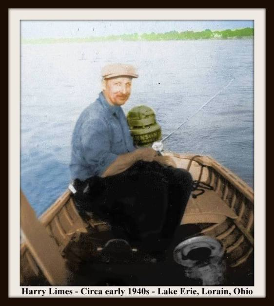 HARRY LIMES - BOAT OUTBOARD MOTOR - COLORIZED 12-14-2016 WITH FRAME & TEXT