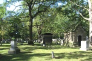 RIDGELAWN CEMETERY - 10-17-2017 - LONG DISTANCE VIEW OF TWO HOUSE STYLE MAUSOLEUMS