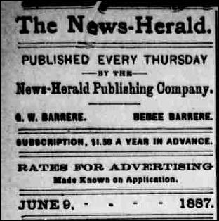 THE NEWS-HERALD HILLSBORO OHIO - JUNE 9 1887 - TITLE
