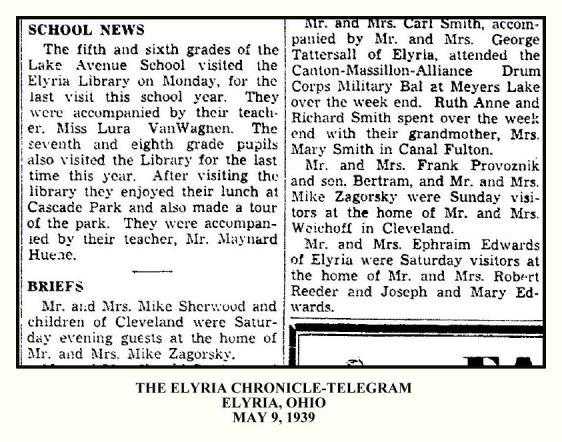 Elyria Chronicle Telegram MAY 9 1939 - ZAGORSKY PROVOZNIK SHERWOOD - WITH FRAME & TEXT