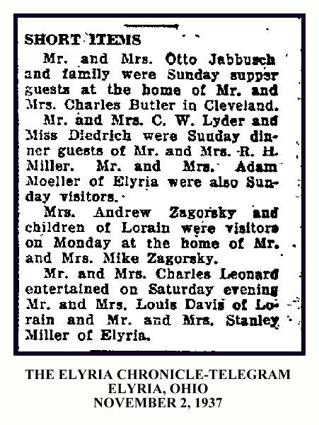 Elyria Chronicle Telegram NOVEMBER 2 1937 - ANDREW AND MIKE ZAGORSKY - WITH FRAME & TEXT