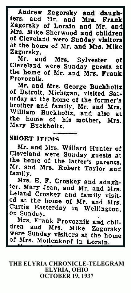 Elyria Chronicle Telegram October 19, 1937 - ZAGORSKY PROVOZNIK SHERWOOD - WITH FRAME & TEXT