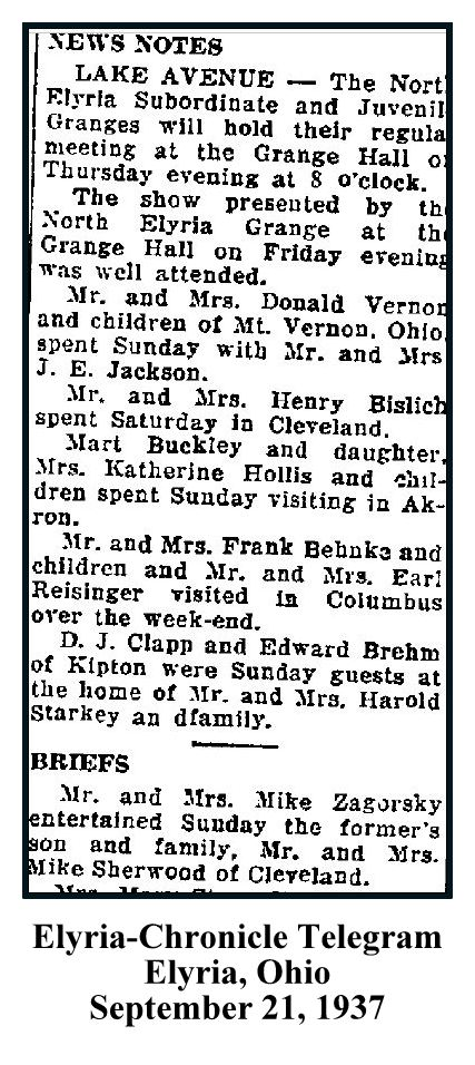 Elyria Chronicle Telegram -September 21 1937 - MIKE ZAGORSKY AND MIKE SHERWOOD - SON REFERENCE WITH TEXT AND FRAME