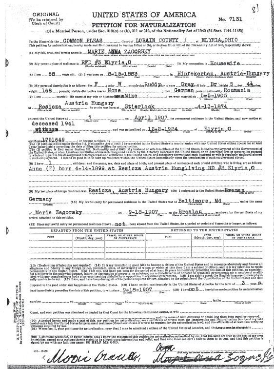 MARIE ZAGORSKY PETITION FOR NATURALIZATION - 1