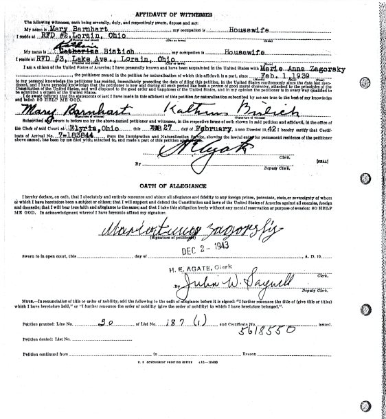 MARIE ZAGORSKY PETITION FOR NATURALIZATION - 2