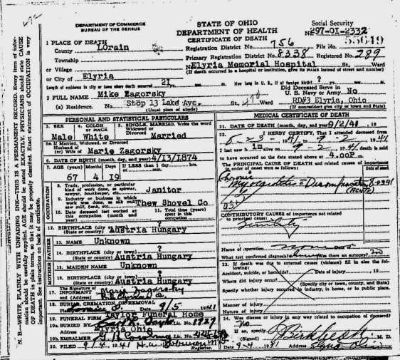 MIKE ZAGORSKY DEATH CERTIFICATE