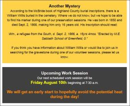OLD BURYING GROUND - AUGUST 10 2018 ANNOUNCEMENT