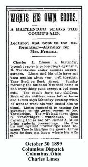 charles l limes - october 30 1899 - columbus dispatch with text and frame