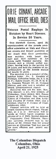 columbus dispatch - april 21 1925 - orie marshall conant -- emma limes & mrs sherman limes sisters - with text and frame
