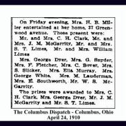 columbus dispatch - april 24 1910 - limes and mcgarity - spelled as mcgarrity in society section - with text and frame