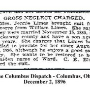 columbus dispatch - december 2 1896 - jennie limes vs william limes - gross neglect charged with frame and text