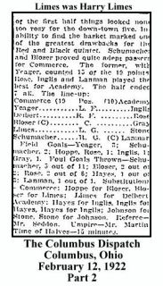 columbus dispatch - february 12 1922 - high school of commerce basketball limes name in listing - 2 - with text and frame