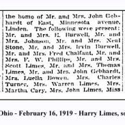 columbus dispatch - february 16 1919 - several limes attended a party including harry limes with text and frame