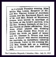 columbus dispatch - july 1 1923 - marriage of bertha mae limes to raymond roach - society section - with text and frame