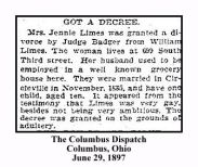 columbus dispatch june 29 1897 - jennie ward limes got divorce decree from william limes - with text and frame