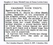 columbus dispatch - march 15 1899 - bessie limes of greenfield reports theft with text and frame
