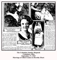 columbus dispatch - september 17 1922 - marriage of albert limes close up with text and frame